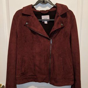 Wine Red Faux Suede Moto Jacket